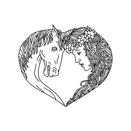 Drawing sketch style illustration of a unicorn, a legendary horse creature with one horn and princess maiden facing each other forming a heart shape viewed from side on isolated background.