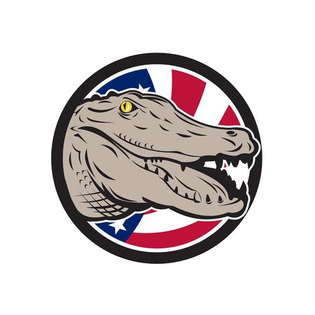 Icône illustration de style rétro d'un alligator américain, crocodilien de la famille des alligatoridae avec bannière étoilée étoile des États-Unis d'Amérique USA ou drapeau étoiles et rayures à l'intérieur du cercle. Banque d'images - 98369827
