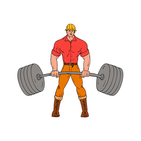 Cartoon style illustration of a buffed lumberjack, logger ,woodcutter, shanty boy, woodhick or timber cutter lifting a heavy weights barbell viewed from front wearing hard hat on isolated background.