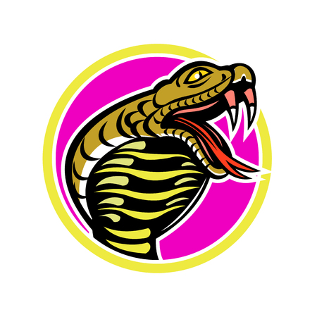 Mascot icon illustration of king cobra, Ophiophagus hannah, or hamadryad, a venomous snake in family Elapidae, endemic to Southeast Asia set inside circle on isolated background in retro style. Vettoriali