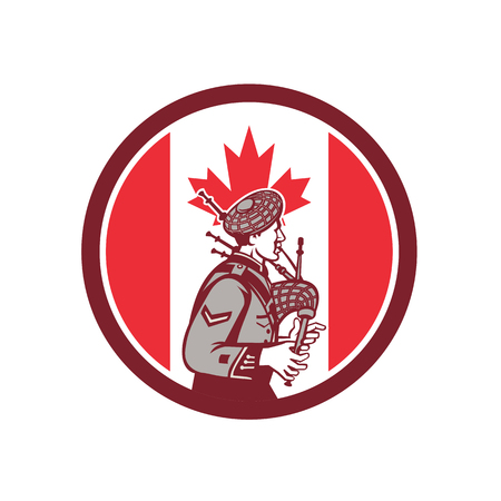 Icon retro style illustration of a Canadian bagpiper playing the bagpipes with Canada maple leaf flag set inside circle on isolated background.