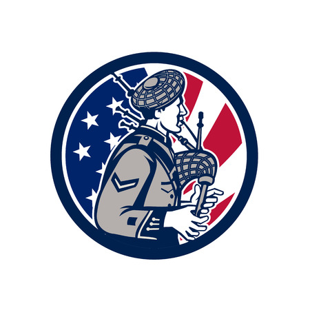 Icon retro style illustration of an American bagpiper playing the Scottish Great Highland bagpipes with United States of America USA star spangled banner or stars and stripes flag inside circle.