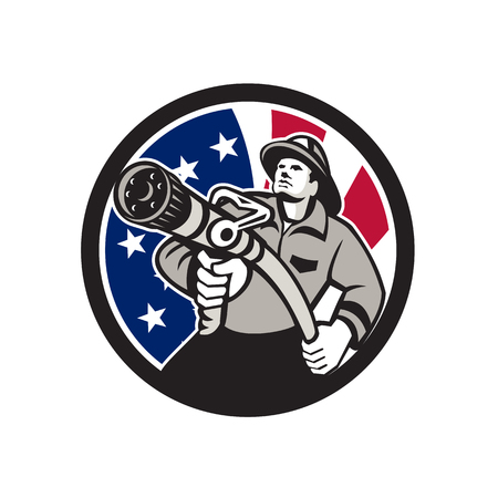 Icon retro style illustration of an American firefighter or fireman holding a fire hose front view with United States of America USA star spangled banner or stars and stripes flag inside circle isolat