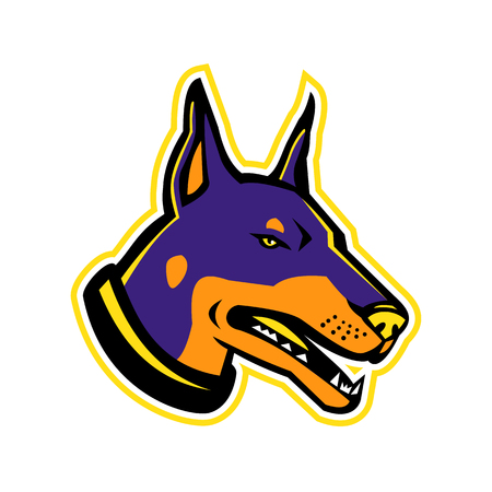 Mascot icon illustration of head of a Dobermann or Doberman Pinscher, a medium-large breed of domestic dog originally developed as guard dog on isolated background in retro style.