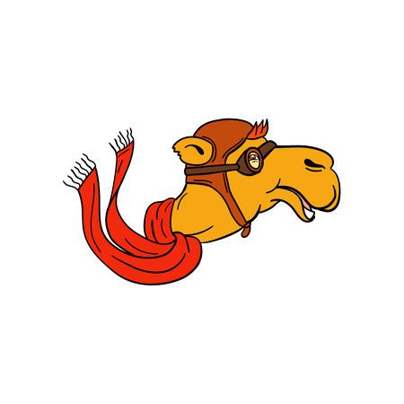 Cartoon stijl illustratie van het hoofd van een piloot kameel dragen sjaal, vintage vlieger helm hoed en bril glimlachend van opzij gezien op geïsoleerde achtergrond. Vector Illustratie