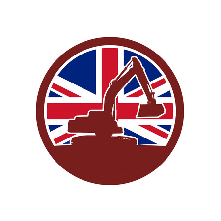 Icon retro style illustration of silhouette of a British mechanical digger or excavator viewed from side with United Kingdom UK, Great Britain Union Jack flag set inside circle on isolated background.