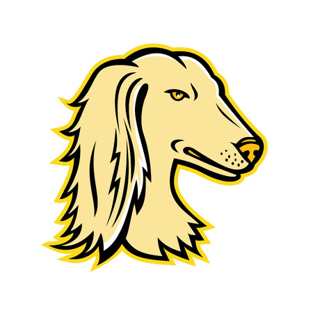 Mascot icon illustration of head of a Saluki, also known as Persian Greyhound or Tazi, a dog breed classed as a sighthound on isolated background in retro style.