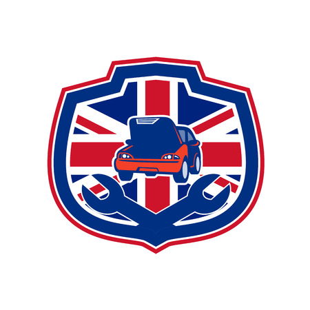 Icon retro style illustration of a British auto automobile car repair shop with crossed spanner wrench and United Kingdom UK, Great Britain Union Jack flag set inside crest on isolated background. 版權商用圖片 - 98833662
