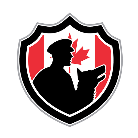 Icon retro style illustration of a Canadian police canine team showing a policeman and police dog silhouette viewed from side with Canada maple leaf flag set inside crest on isolated background.