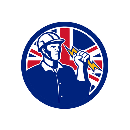 Icon retro style illustration of a British Power Lineman or electrician holding a lightning bolt with United Kingdom UK, Great Britain Union Jack flag set inside circle on isolated background.