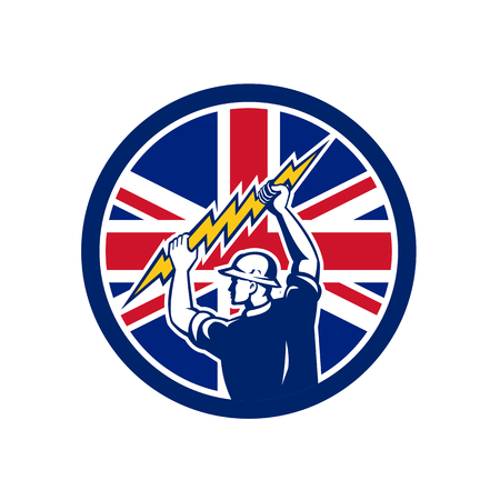 Icon retro style illustration of a British electrician or power lineman holding lightning bolt with United Kingdom UK, Great Britain Union Jack flag set inside circle on isolated background.