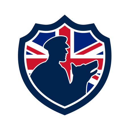 Icon retro style illustration of a British police canine team showing a policeman and police dog silhouette with United Kingdom UK, Great Britain Union Jack flag set inside circle isolated background. Archivio Fotografico - 98833669