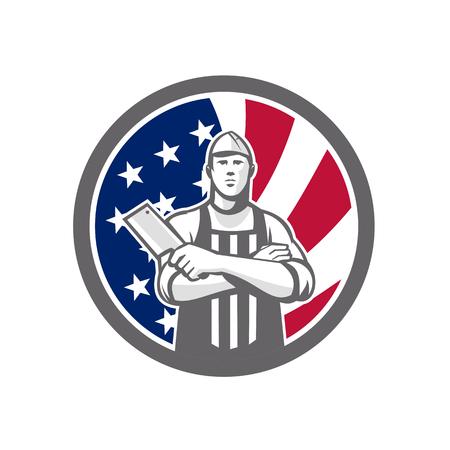 アメリカの肉屋の腕のアイコンレトロなスタイルのイラストは、アメリカ合衆国のスターがバナーや星条旗を円の内側にぶら下げて正面から見た肉  イラスト・ベクター素材