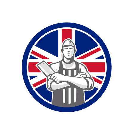 Icon retro style illustration of British butcher arms crossed holding a meat cleaver viewed from front  with United Kingdom UK, Great Britain Union Jack flag set inside circle on isolated background. Standard-Bild - 98883904