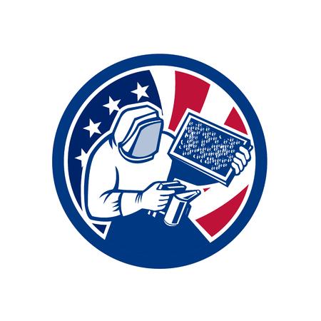 Icon retro style illustration of American beekeeper