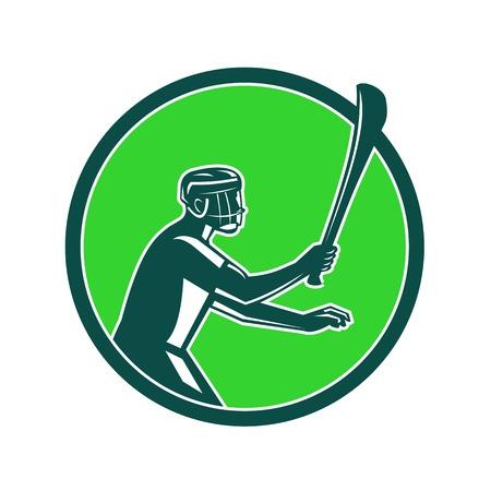 Illustration de style rétro d & # 39 ; un joueur de crosse tenant un bâton de bois Banque d'images - 99256464