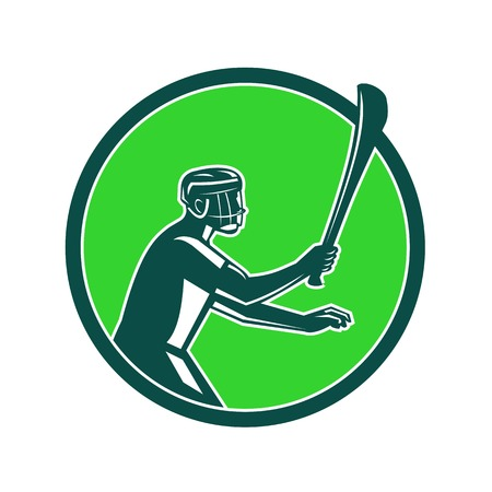 Retro style illustration of a hurling player holding a wooden stick Çizim