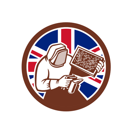 Icon retro style illustration of a British beekeeper, honey farmer