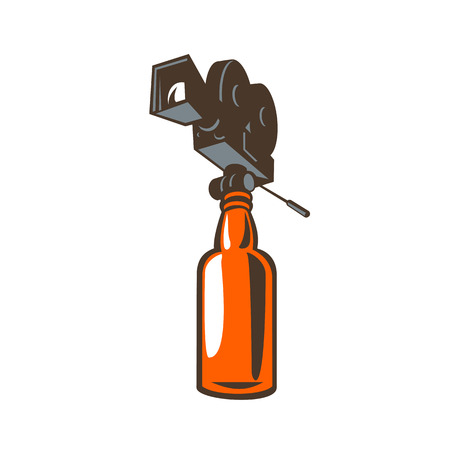 Retro style illustration of a vintage film camera on top of a beer or whiskey bottle on isolated background.