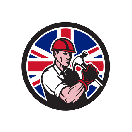 Icon retro style illustration of a British handyman, builder Standard-Bild - 99256471
