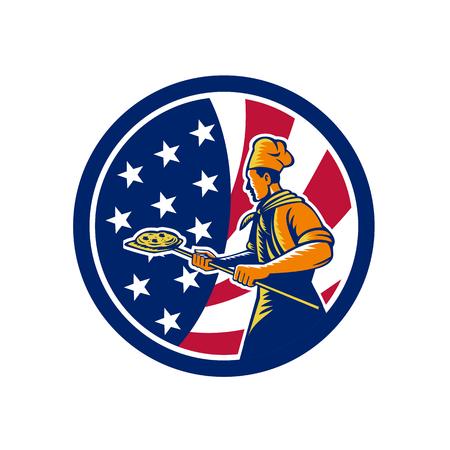 Icon retro style illustration of American pizza baker chef holding peel