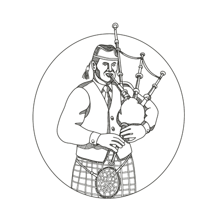 Doodle art illustration of a Scottish bagpiper playing bagpipes Vectores
