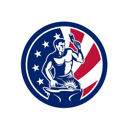 Icon retro style illustration of an American blacksmith