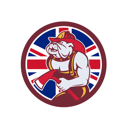 Icon retro style illustration of a British Bulldog fireman or firefighter holding fire axe
