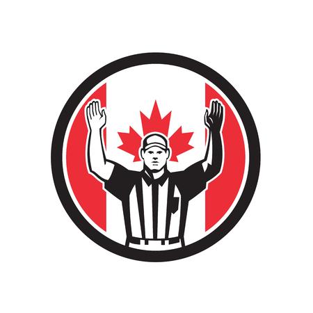 カナダのサッカー審判のアイコンレトロスタイルのイラスト