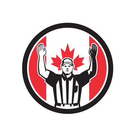 Icon retro style illustration of a Canadian football referee