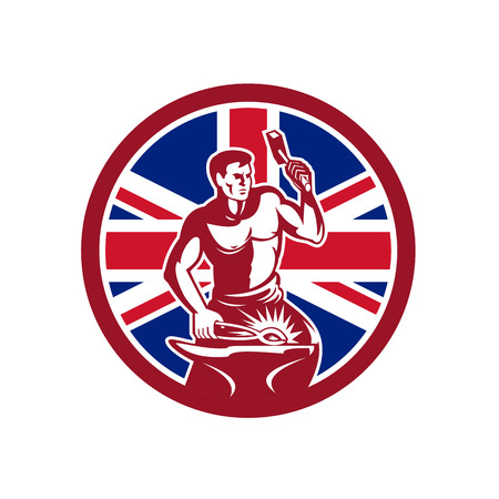 Icon retro style illustration of a British blacksmith Çizim