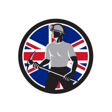 Icon retro style illustration of a British coal miner holding a pick axe