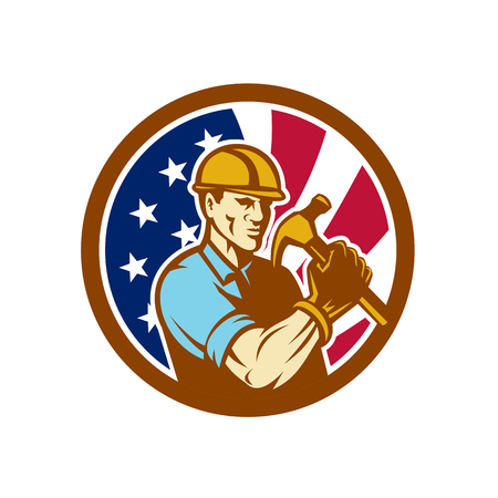 Icon retro style illustration of an American handyman