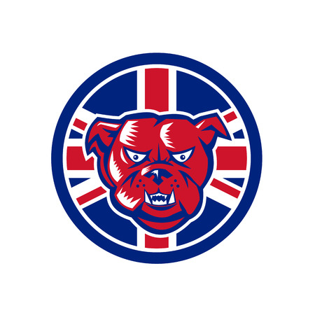 Icon retro style illustration of a British Bulldog head
