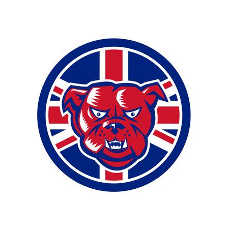 Ilustración de estilo retro de icono de una cabeza de bulldog británico Foto de archivo - 99256518