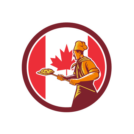 Icon retro style illustration of a Canadian pizza baker chef Ilustrace