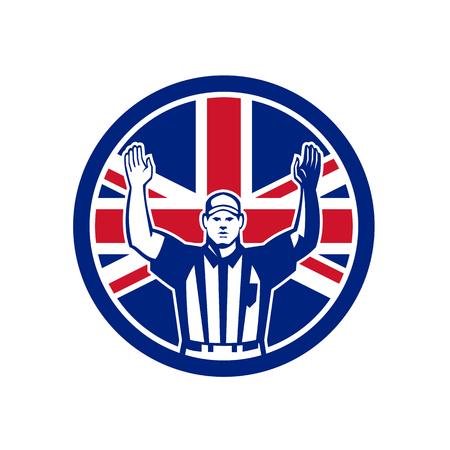 Ilustración de estilo retro de icono de un árbitro de fútbol americano británico Foto de archivo - 99256524
