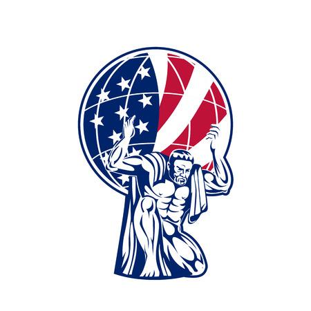 ●アメリカ国旗デザインで地球儀を運ぶタイタン、アトラスのアイコンレトロスタイルイラスト