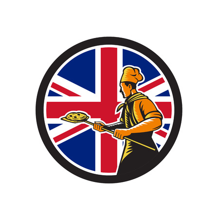 Icon retro style illustration of a British pizza baker chef