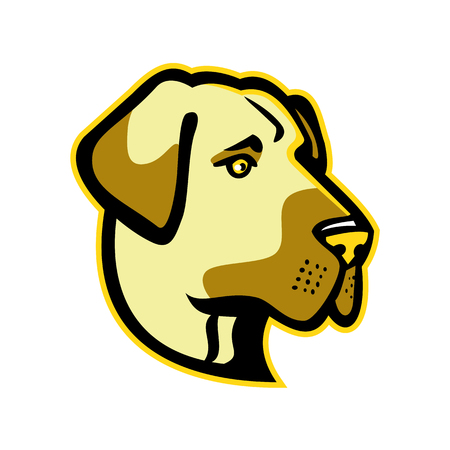 아나톨리아 양치기 개, 아나톨리아 여드름 또는 Kangal, 복고 스타일에 고립 된 배경에서 측면에서 본 가축 보호자 강아지의 머리의 마스코트 아이콘 그 일러스트