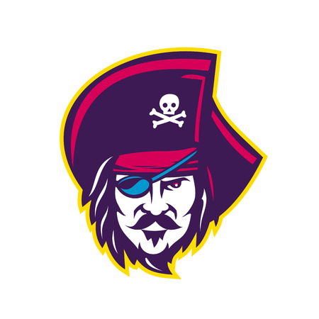 Mascot icon illustration of head of a privateer, corsair or pirate wearing a cocked or tricorne  tricon hat with eye patch viewed from front on isolated background in retro style.