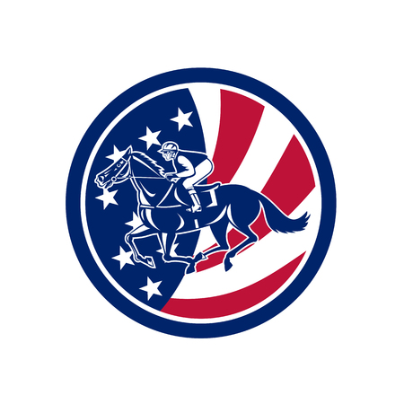 Icon retro style illustration of an American jockey or equestrian horse racing viewed from side with United States of America USA star spangled banner stars and stripes flag inside circle background.