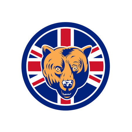 Icon retro style illustration of a British brown bear head with United Kingdom UK, Great Britain Union Jack flag set inside circle on isolated background.