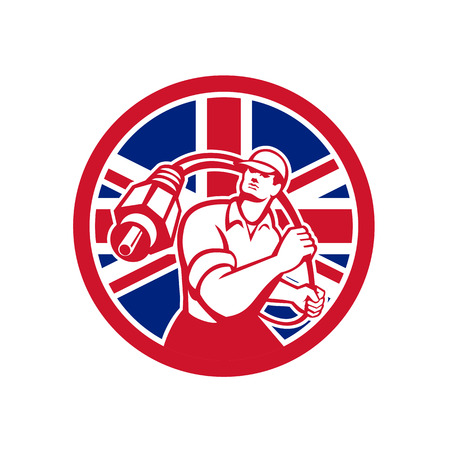 Icon retro style illustration of a British cable installer guy holding RCA plug cable with United Kingdom UK, Great Britain Union Jack flag set inside circle on isolated background. Ilustrace