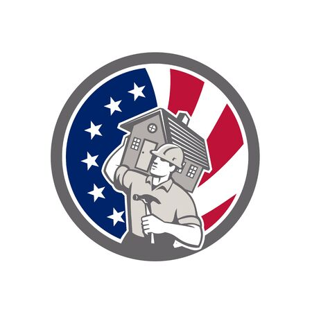 Icon retro style illustration of an American building contractor, builder, or carpenter carrying house with United States of America USA star spangled banner or stars and stripes flag inside circle.