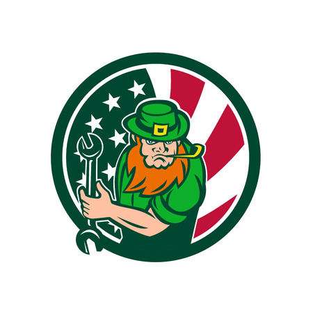 Icon retro style illustration of an Irish-American mechanic who is a leprechaun mascot with United States of America USA star spangled banner or stars and stripes flag in circle isolated background.