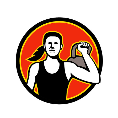 Mascot icon illustration of a female personal trainer lifting a kettlebell viewed from front set inside circle  on isolated background in retro style.   Ilustração