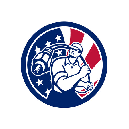 Icon retro style illustration of American cable installer guy holding RCA plug cable with United States of America USA star spangled banner or stars and stripes flag inside circle isolated background.