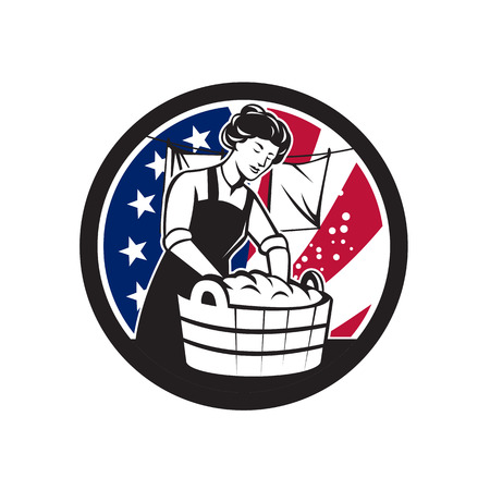 Icon retro style illustration of an vintage American housewife washing laundry with United States of America USA star spangled banner or stars and stripes flag inside circle isolated background.