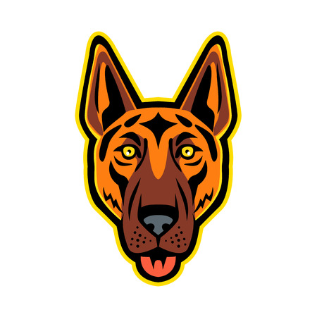 Mascot icon illustration of head of a German Shepherd Dog, Alsatian wolf dog, Berger Allemand, or Deutscher Schaferhund with tongue out viewed from front on isolated background in retro style. Stok Fotoğraf - 99683980